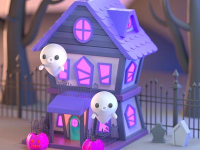Drawlloween 2020 - Haunted halloween isometric design character illustration character design 3d modeling 3d illustration 3d artist 3d art 3d