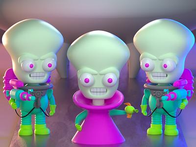 DrawBanana 2020 - Mars Attacks! fan art alien toy toy design design character illustration character design 3d modeling 3d illustration 3d artist 3d art 3d