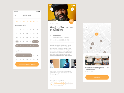 Superfly • App Redesign Concept #2 event map event page jam design user experience user interface interface ux ui popular new genre player mix soul funk music orange yello mobile