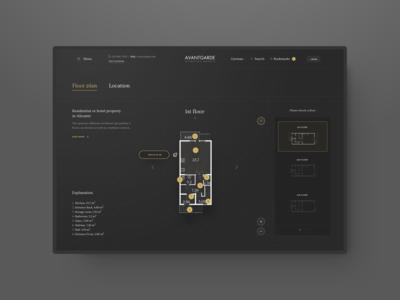Avantgarde Properties #5 - WIP avantgarde web user interface user experience ui ux typography property navigation 3d apartments wip homepage grey gold gradient flat desktop design floor plan