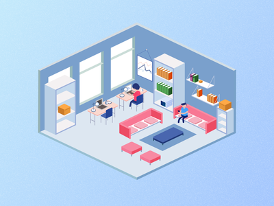 Isometric IT Office adobe figma phone documents it people office ux vector design illustration ui icon graphic design branding 3d