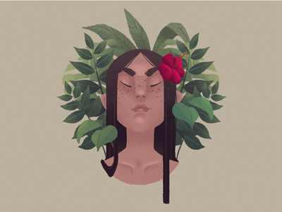 FLORA red brown green freckles lady ipad procreate drawing flora plants illo illustration