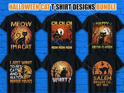 CAT HALLOWEEN T-SHIRT DESIGN BUNDLE best t shirt free t shirt animal halloween shirt