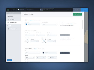 Dashboard - Buttons & Links settings. dashboard page builder settings appearance blue dark interface ui