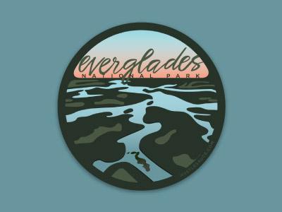 Everglades National Park illustration everglades script national park design sticker