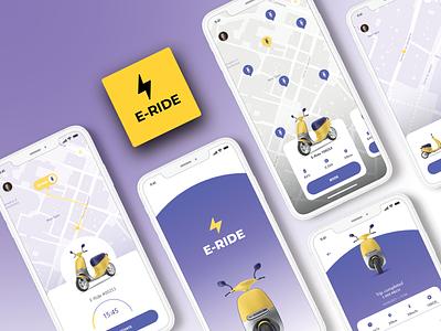 E-Scooter Details -  Mobile App Design freebie app design minimal typogaphy color ride concept ui ux mobile mobile app design e-scooter scooter app ui mobile design location e-vehicle map localization