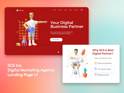 SCS Creative Agency Landing page minimal artwork 3d ilustration creative agency agency website agency work business web creative studio landing page digitalmarketing branding agency creative design uiux website service app service landing page creative digital marketing creativeart