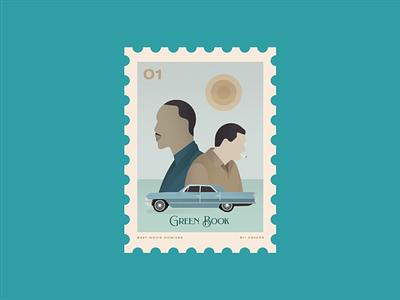 Green Book vector design illustration postage stamp cinema movie oscars