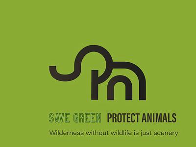 Save Green - Protect Animals illustration design