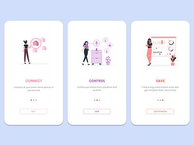 Smart Home App Onboarding ux vector ui typography logo illustration icon design branding app