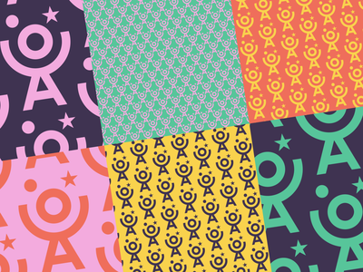 OCA Patterns cooperative color mix color combinations pink repeating pattern juggling joy artists smile illustrator graphic design repeat identity circus clown flatdesign colorful pattern logo branding
