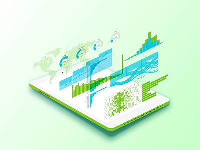 AR Graphs Dashboard Tablet graphics designer design clean adobe illustrator isometric 3d ar data visualization infographic graphs graph tablet ipad dashboard user interface ui infographics graphic design