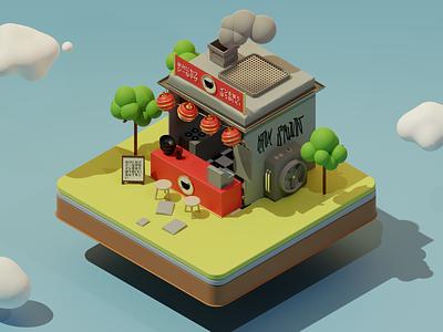 Tiny Asian Streetfood Shop 🍱 3d design 3dmodel blender3d cinema4d c4d blender illustration food asian asia graphic design branding animation 3d illustration 3d art 3d