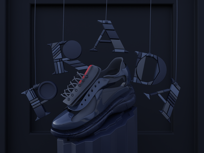 """MARIONETTE"" · Prada Shoe 3D Concept free sneakers app interface ux ui animation 3d graphic design motion graphics logo 3d illustration web illustration 3d webdesign 3d web illustration website 3d art branding illustration design"