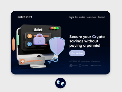 SECURIFY Crypto Landing Page UI logo design 3d art motion graphics animation 3d webdesign web illustration 3d web illustration website illustration branding 3d illustration graphic design 3d ui ux interface app sneakers free