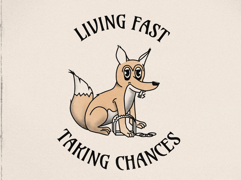 Living Fast, Taking Chances vintage retro stamp illustration badge quote dog fox