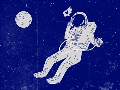 Astronaut retro astronaut space phone illustration