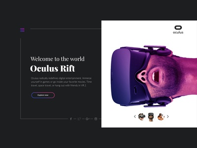 Oculus Rift VR Landing Page