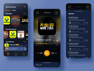 Podcast App Concept podcasts podcasting branding podcast app music app podcast design ux ui mobile ui mobile design mobile app mobile app