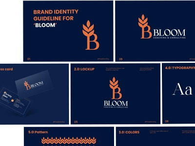 Bloom Consulting Brand Identity. minimal vector leaf icon brand design logo coaching consulting agency logo mark premium bloom business logo startup logo modern logo designer b logo brand identity branding consulting