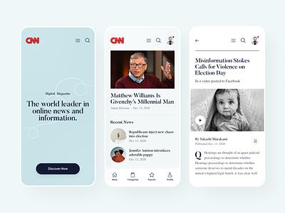CNN news app concept news magazine mobile app ux ui minimal flat design