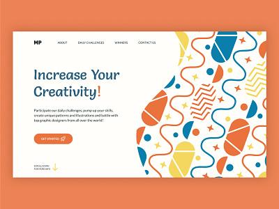 Design Battles Website First Screen Concept design concept firstscreen bright pattern webdesign web uxui uxdesign uidesign