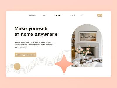 Main Page design for an apartment rental website minimalism pastel rental apartment design concept webdesign web uxui uxdesign uidesign ux ui