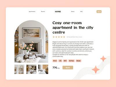 Apartment rental website Product Page website ux minimalism pastel rental apartnment design concept webdesign web uxui uxdesign uidesign ui