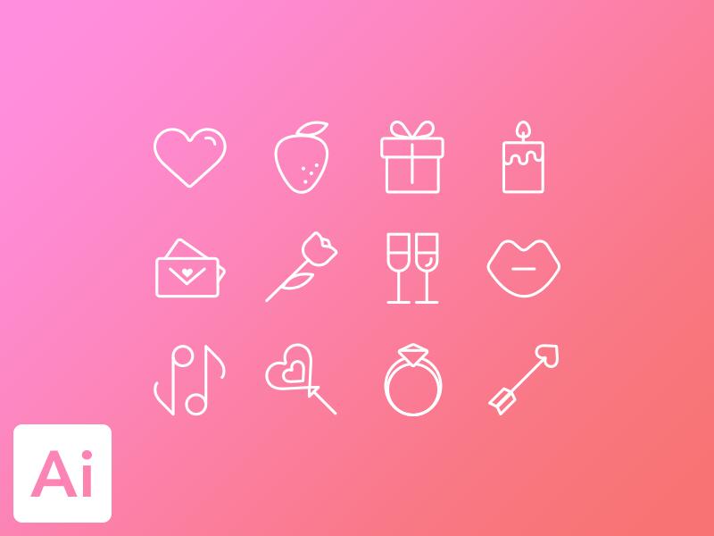 Valentines icon set icons set icon vector simple valentine love valentinesday gift