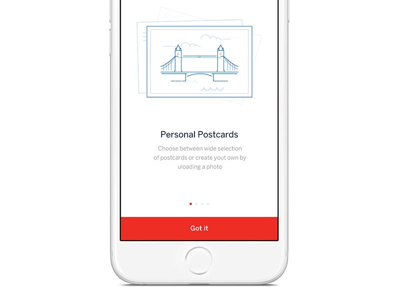 Personalised Postcards app illustration design ui iphone ios on boarding illustration vector