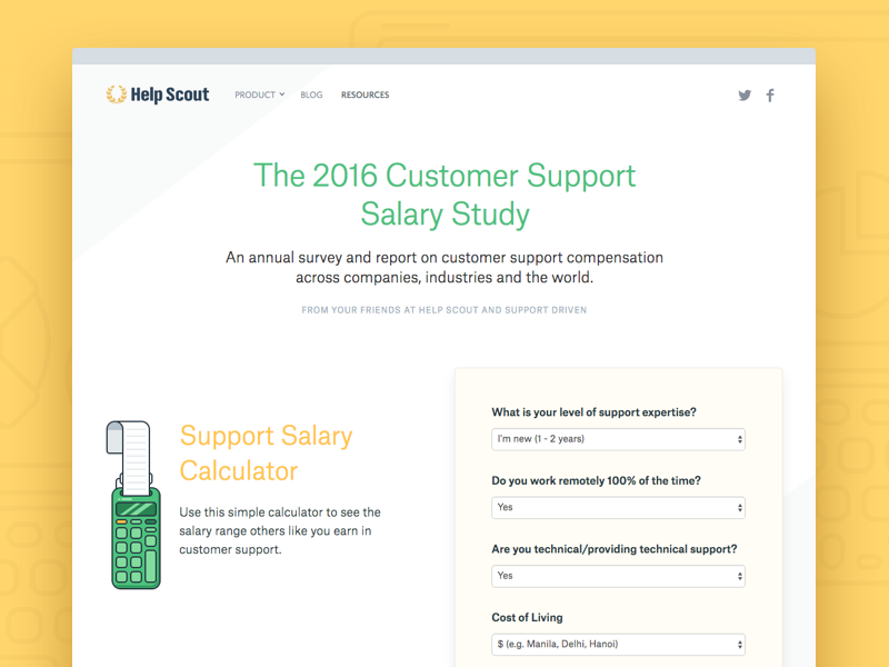The 2016 Customer Support Salary Study by Help Scout - Dribbble