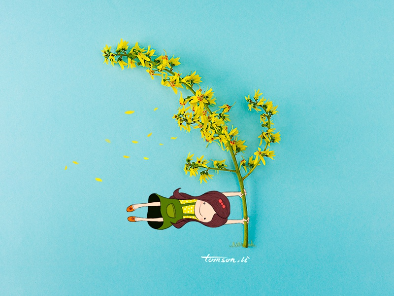 wind painting drawing flower girl creative photography illustration