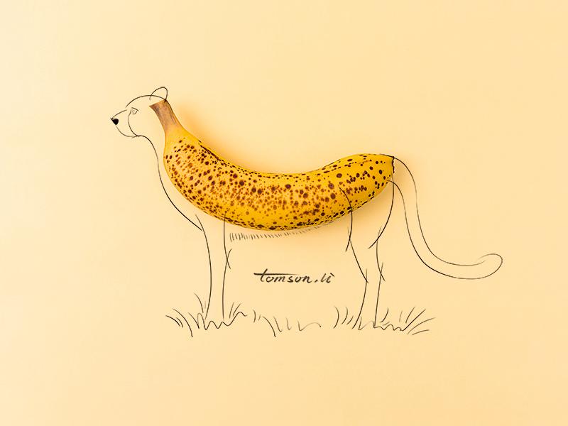 Cheetah yellow animal cheetah banana fruit still life photography creative illustration painting drawing