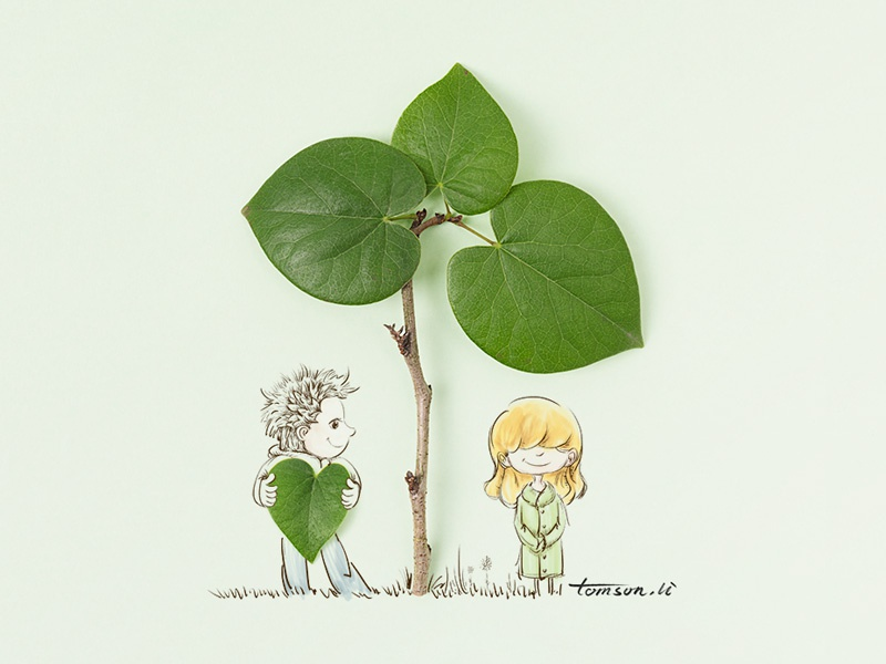 love confession green cute leaves girl boy still life photography creative illustration painting drawing love