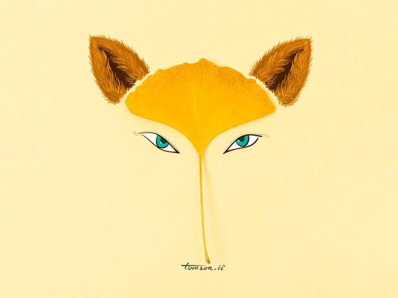 fox eye yellow ginkgo leaves animal still life photography creative illustration painting drawing fox