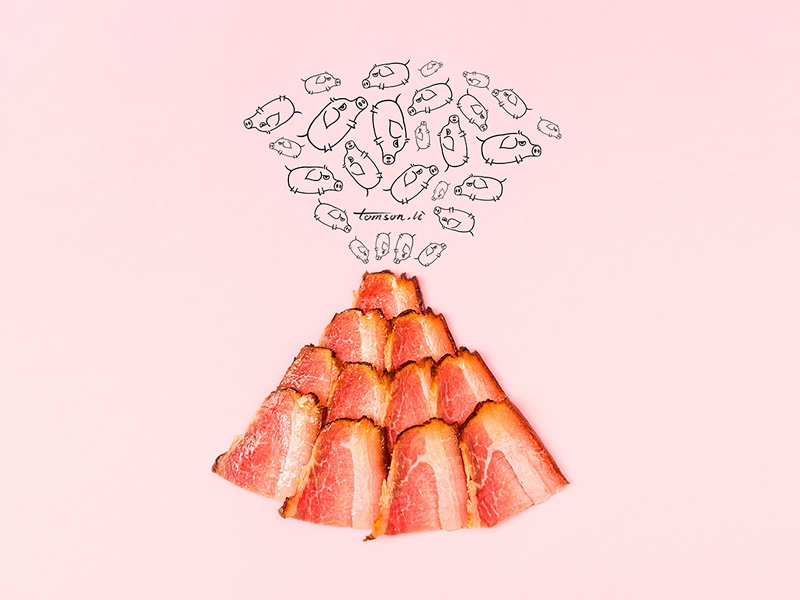 volcanic food cute pigs bacon still life photography creative illustration painting drawing volcanic