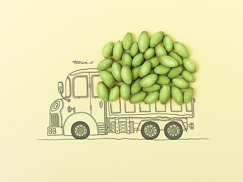 Harvest tomson.li truck seed still life photography creative illustration painting drawing harvest