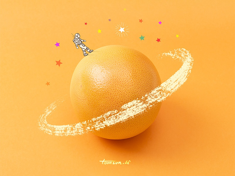 Rambler starry sky fruit tomson.li universe astronaut orange still life photography creative illustration painting drawing rambler