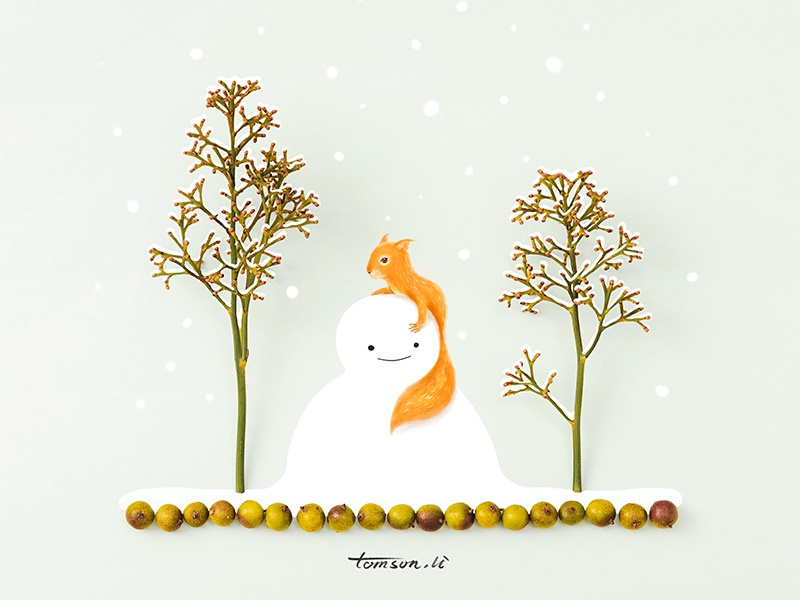 Human and Nature 2 tomson.li animal food trees snowman squirrel still life photography creative illustration painting drawing
