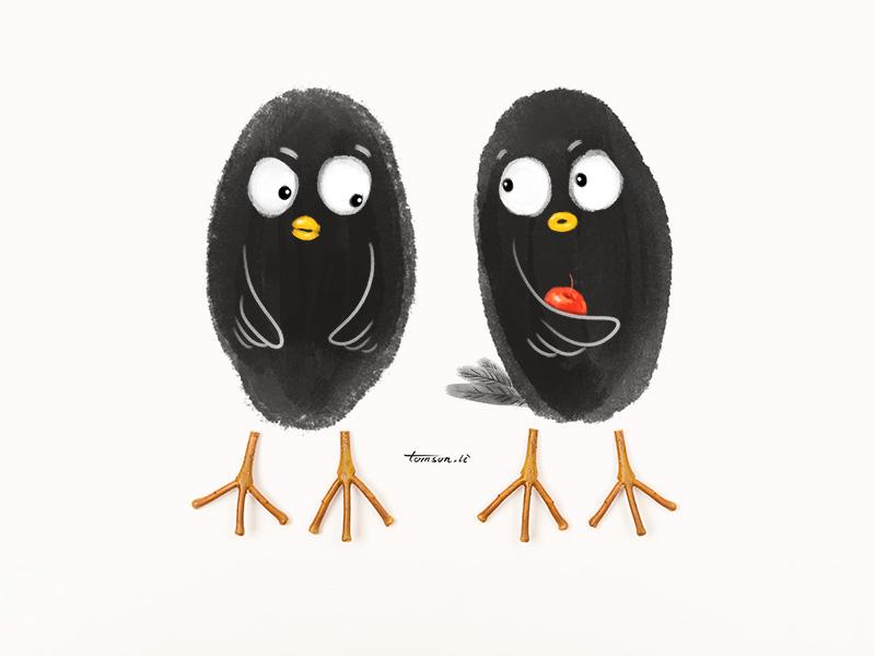 share branch tomsonli animals apple birds still life photography creative illustration painting drawing share