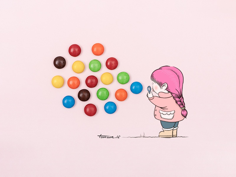 blowing bubbles mm chocolate beans girl still life photography creative illustration painting drawing bubbles
