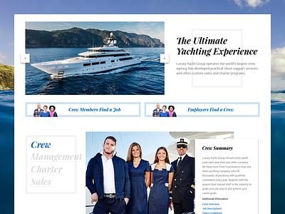Homepage Refresh Full landing homepage luxury yachts sailing boating ocean square card minimal
