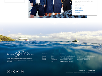 Homepage Footer minimal card square ocean boating sailing yachts luxury