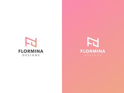 Flormina Designs Logo design interior rose gradient logo