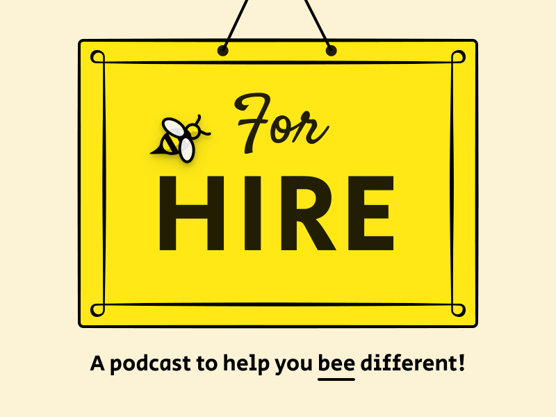 For Hire Podcast identity brand bee podcast logo podcast