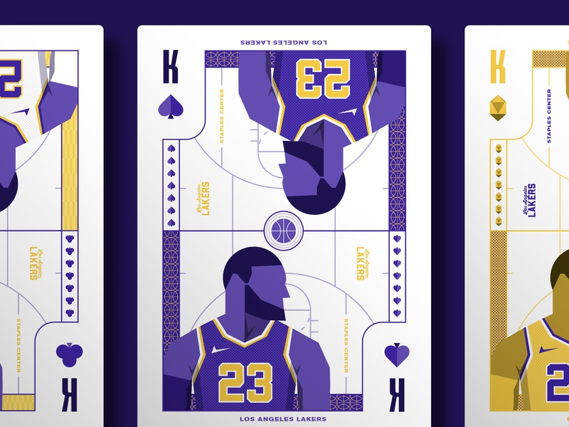 The Royal Court: LA Lakers Cards kobe typography lebron vector sports simple nba losangeles logo lakers la illustrator illustration identity design print cards branding basketball ball