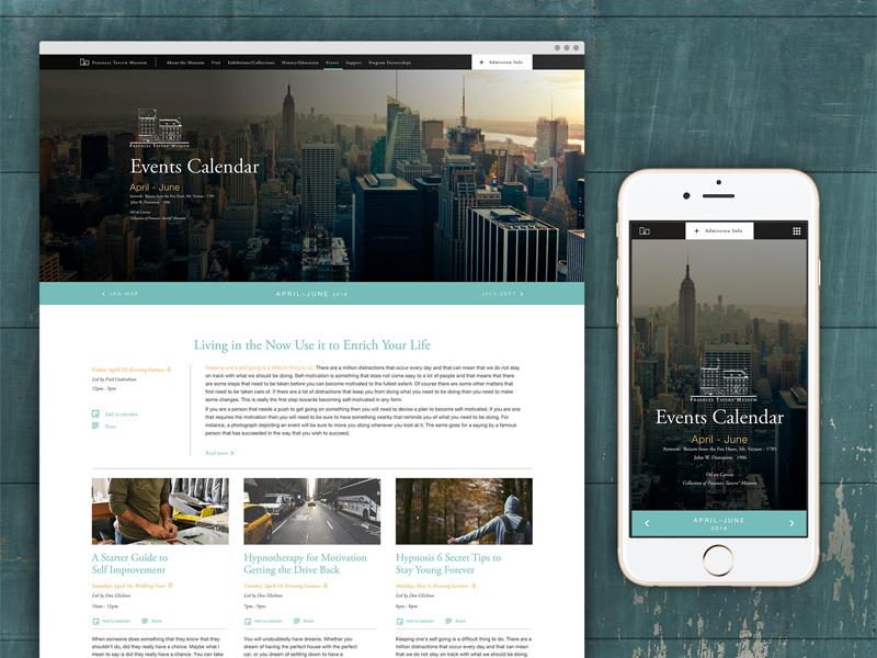 Events Calendar Site sketch uiux ui calendar concept layout responsive mobile desktop website web design digital