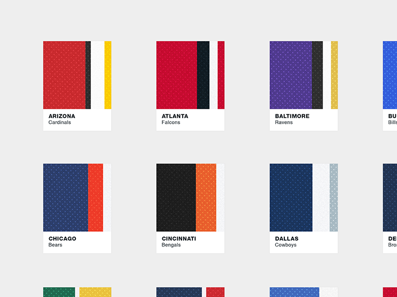 Jersey Chips Series textures. sports patterns football nfl color pantone print