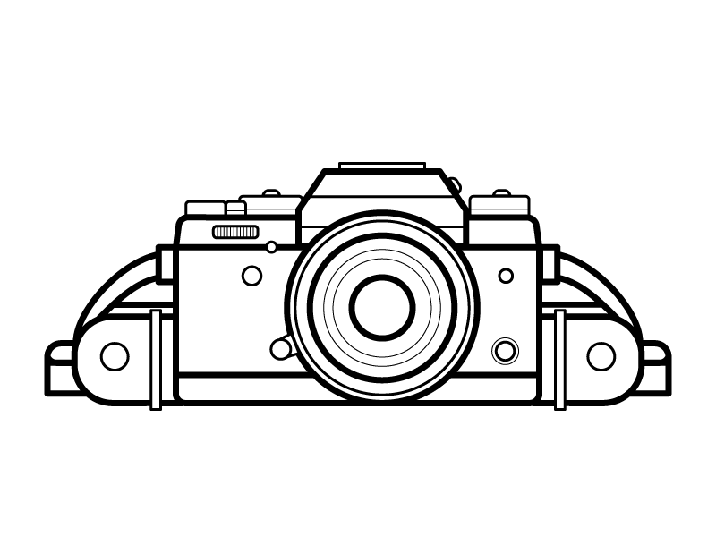 Photography camera photography bw stroke simple icons illustration vector