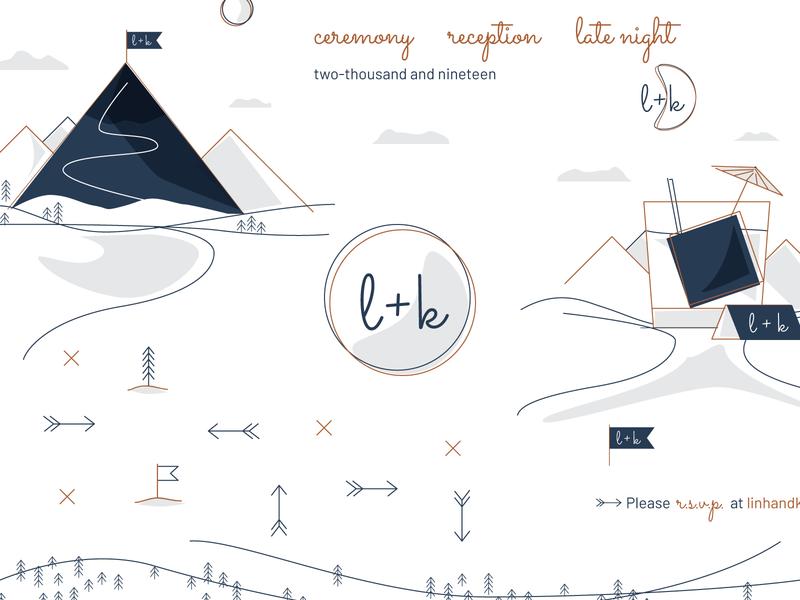 K+L Wedding Branding invite mountain wedding design digital website identity icons illustrator logo branding illustration vector